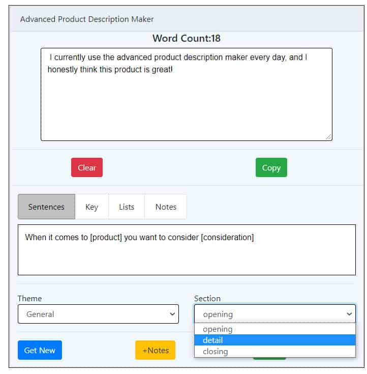 product description detail sentences