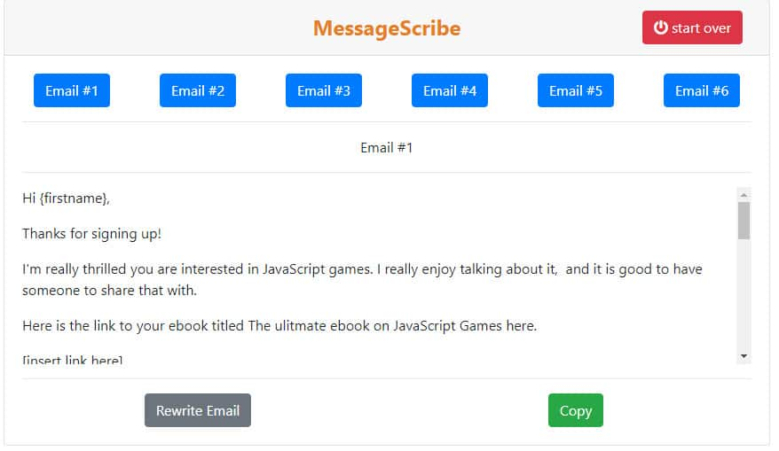 select and copy the email template